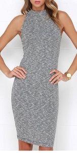 Lush ribbed grey mock neck dress